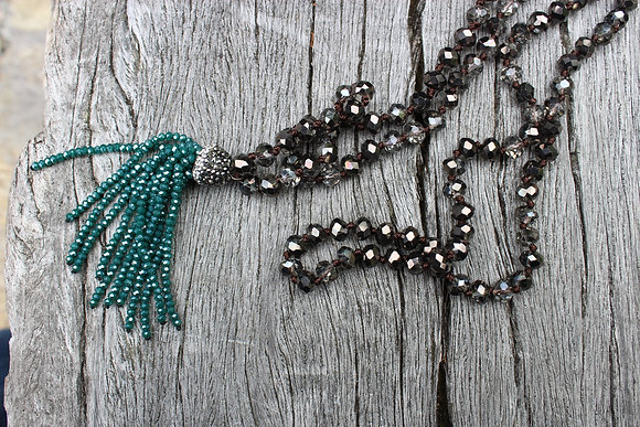 Hand Knotted Czech Glass with Green Tassel