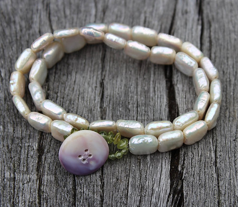 Pearl, Peridot and Wampum Button