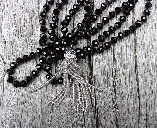 Hand knotted with Silver Crystal Tassel