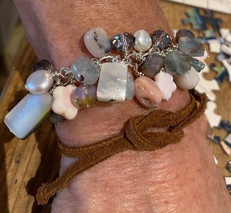 Shakey Bracelet, Peruvian Opal, Aquamarine