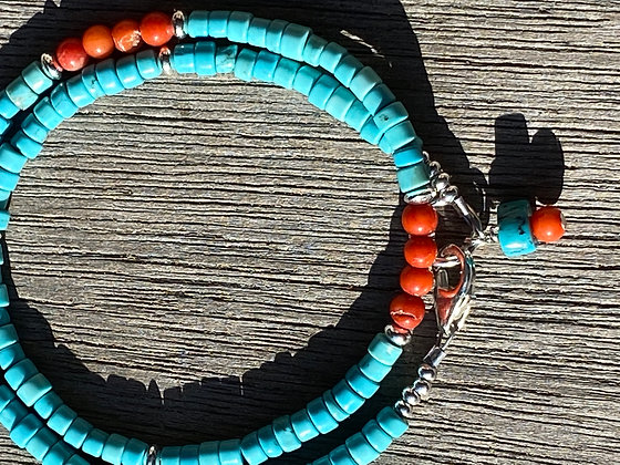 Turquoise and Coral Wrap Bracelet