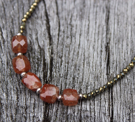Red Rutilated Quartz and Gold Spinel