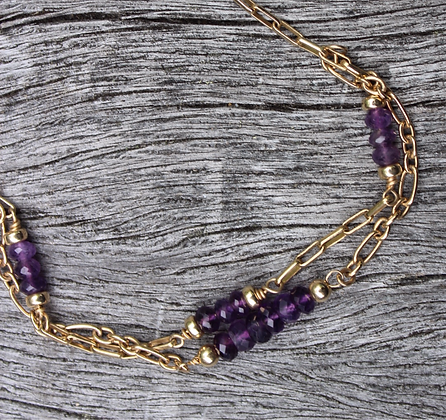 Amethyst and Sterling Silver dipped in Gold