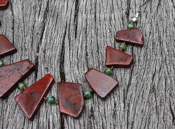 Red Jasper and green Czech Glass