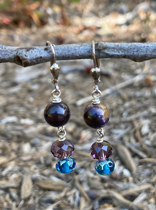 Sugilite and Crystal Earrings