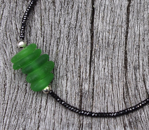 Green Sea glass and Black Spinel