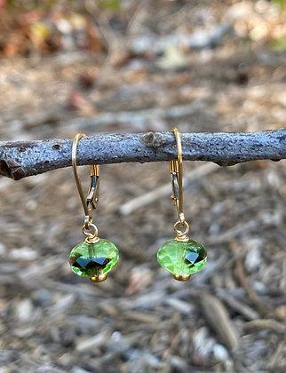 Green Czech Glass and Gold Earrings