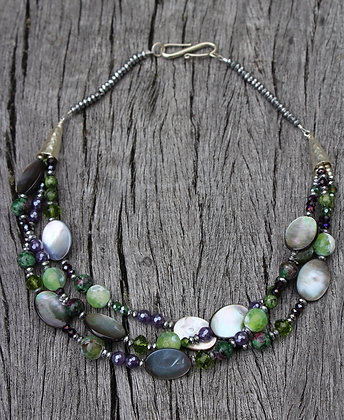 River Shell, Plated Amethyst, Rhodidite, Pyrite, Green quartz and Sterling