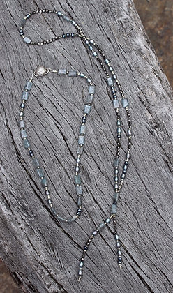 Pearl, Chrysoberyl Grey Cats Eye, Pyrite and Sterling