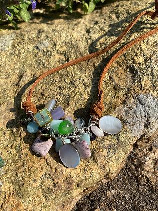 River shell, Sugilite, Amethyst, Amazonite, Seaglass, Czech Glass