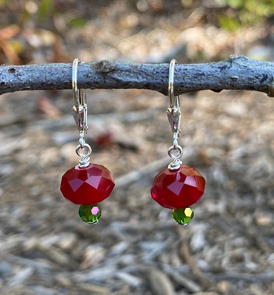 Holiday Red/Green Crystal Earrings
