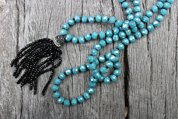 Hand Knotted Czech Glass with Black Tassel