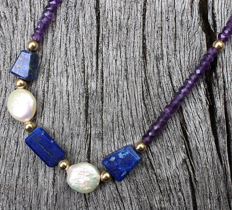 Lapis, Coin Peral, Pyrite and Amethyst