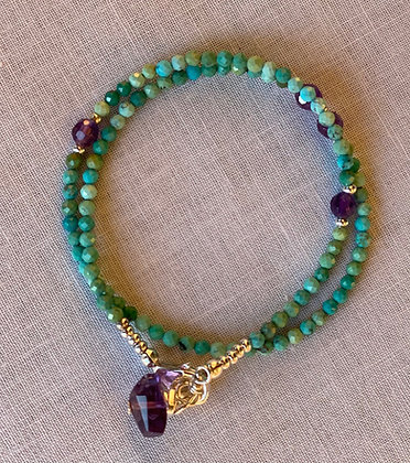 Amethyst and Turquoise Wrap Bracelet