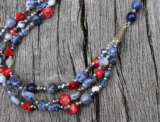 Sodalite, Coral and Crystal