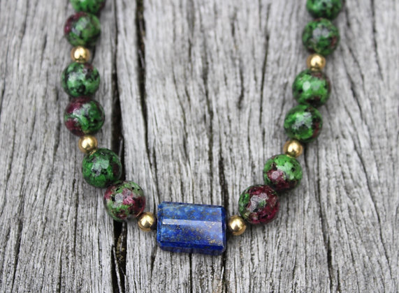 Ruby Zoisite, Lapis and Sterling dipped in Gold