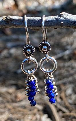 Lapis, Silver Flower Earrings