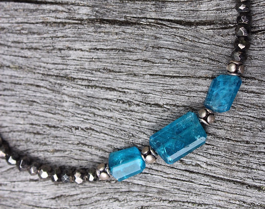 Apatite, Sterling Silver and Pyrite