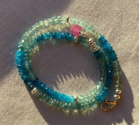 Amazing Apatite Wrap with Pink Sapphire