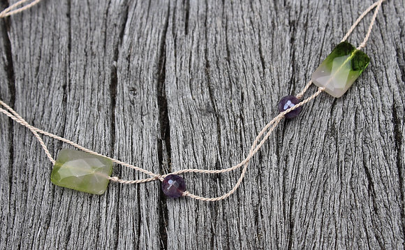 Amethyst, Czech Glass on Pink Silk Cord