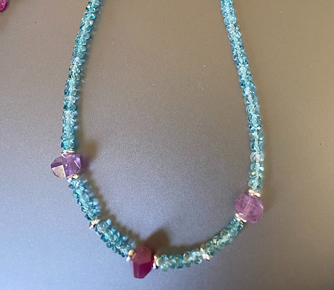 Pink Sapphire and Aquamarine