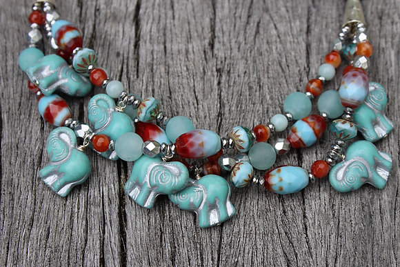 Czech Glass Elephants with Sterling Clasp