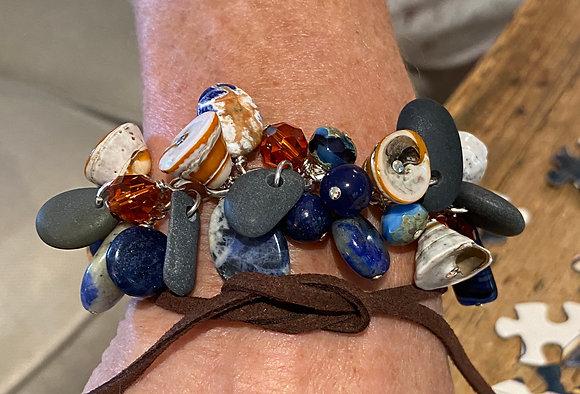 Shakey Bracelet, Sodalite, Shell, Beach Stone