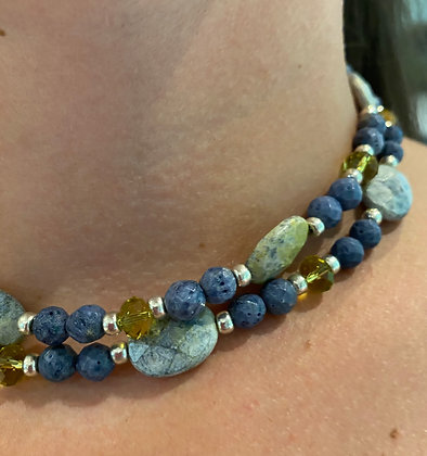 Denim/yellow Sodalite and Swarovski Crystal