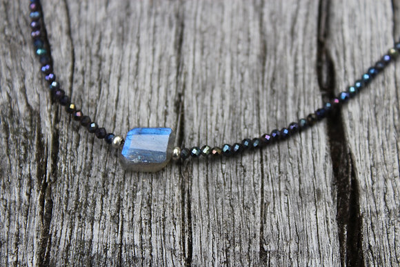 Labradorite and Peacock Spinel