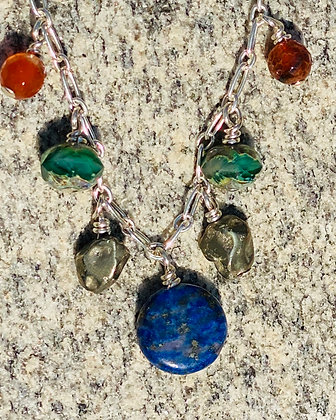 Lapis Lazuli, Pyrite, Carnelian and Green Czech Glass