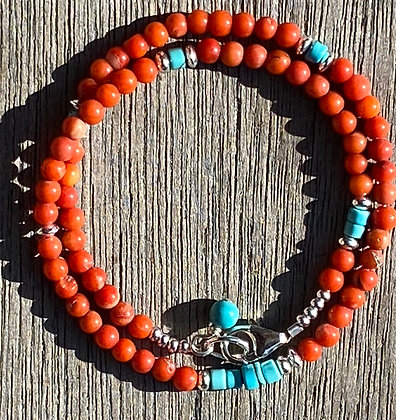 Coral and Turquoise Wrap bracelet