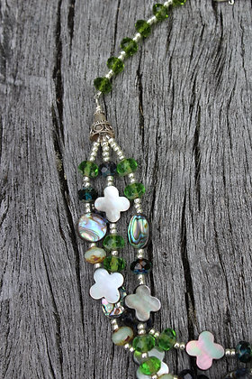 River Shell, Abalone, Czech Glass and Sterling Silver
