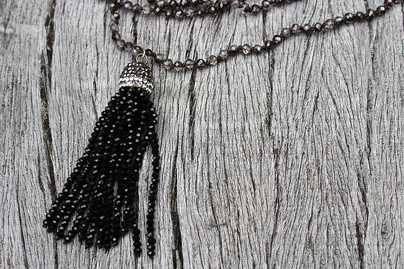 Crystal Tassel Black