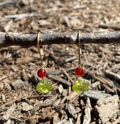 Peridot and Carnelian Earrings