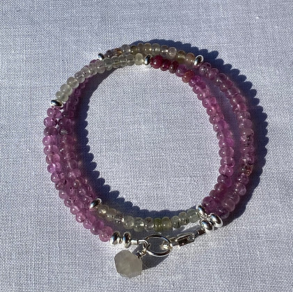 Pink and Yellow Sapphires Wrap Bracelet