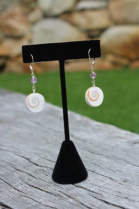 White Cats Eye Shell & Amethyst