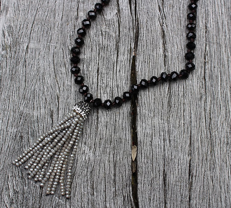 Hand Knotted Czech Glass with Grey Tassel