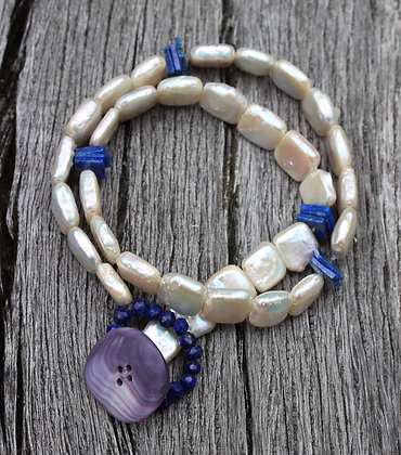 Pearl, Lapis and Wampum Button
