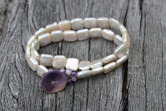 Pearl, Amethyst and Wampum Button