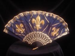 Batik silk fan with Fleur de Lis.jpg