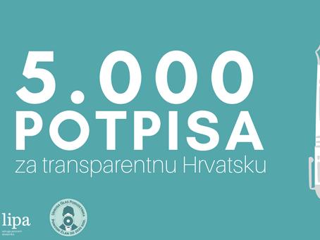 Prvih 5 tisuća potpisa za transparentnu Hrvatsku
