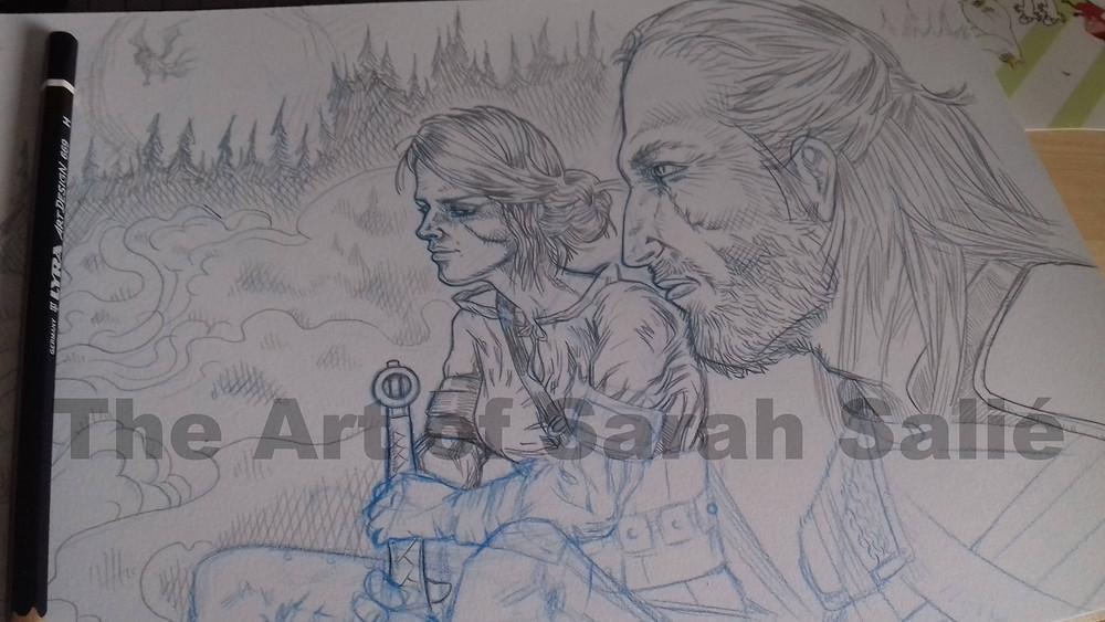 Ciri and Geralt pencils wip