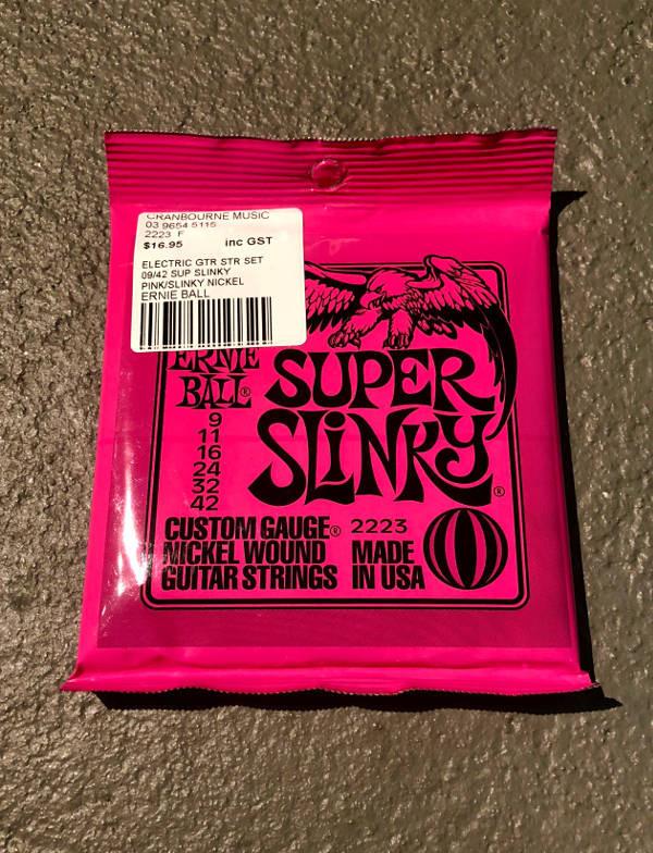 Fresh pack of Ernie Ball Super Slikys