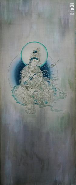 榆林3窟-普賢菩薩 40x100絹布-膠彩2018_小五
