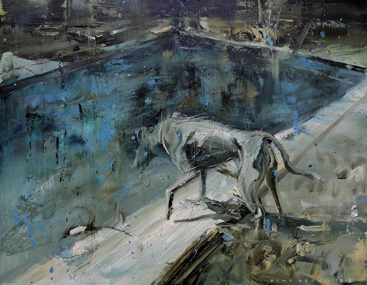 看家的狗 91.0×72.5cm 2015 oil on canvas _陳傑強