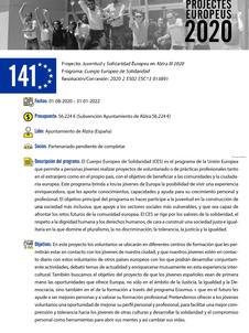 """""""Juventud y Solidaridad Europea en Alzira 2020 """""""