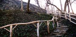 stone steps, local harve wood, gate