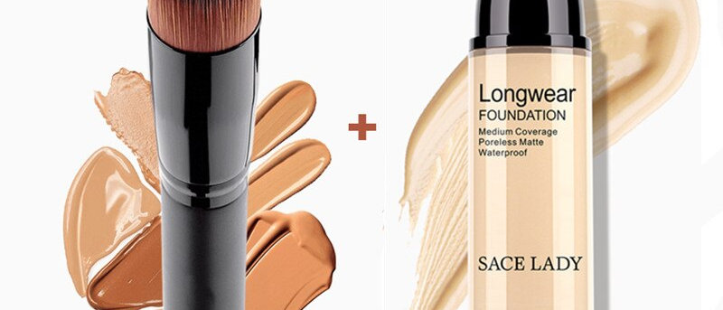 Foundation 30ml Liquid Foundation Matte High Coverage Base Maquiagem + Brushes