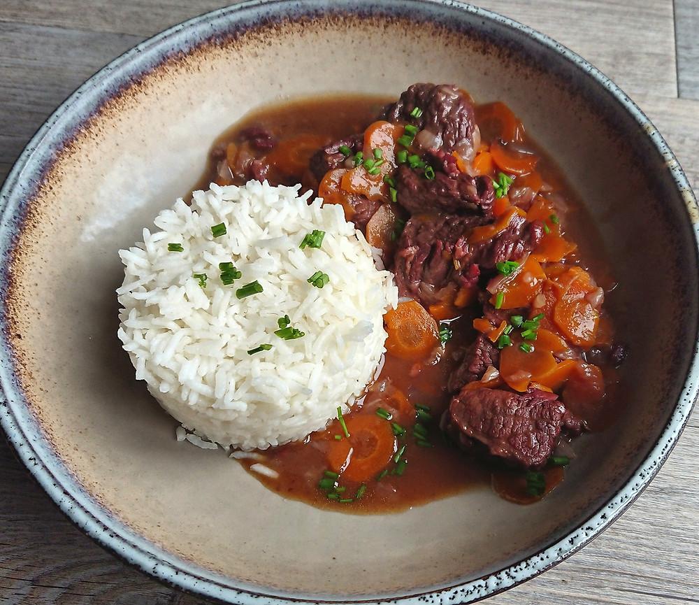 Boeuf bourgui-carottes en cocotte et son riz basmati