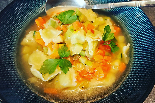 Fiche recette : Bouillon de légumes aux ravioles du Dauphiné